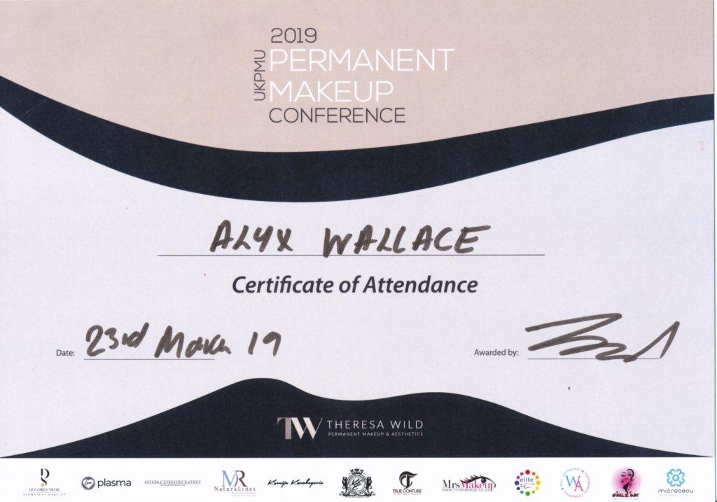 UKPMU Permanent Makeup Conference Certficate