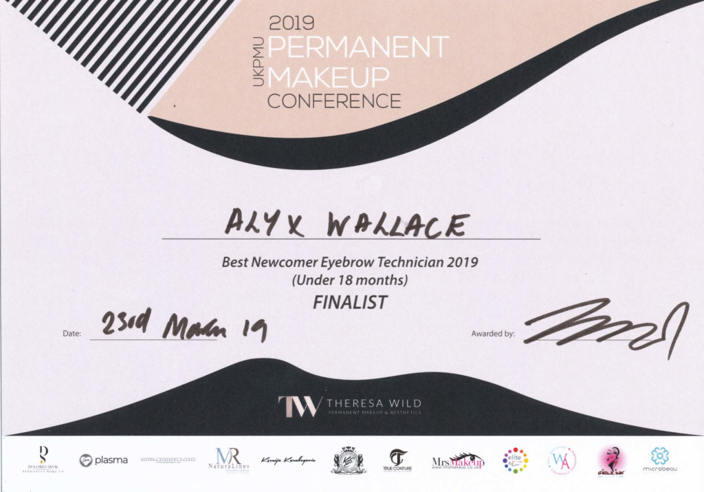 "Finalist Position for 'Best Newcomer Eyebrow Technician 2019"" Certificate"